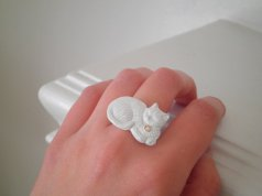 enamel kitty ring